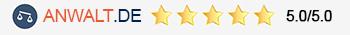 5 Sternebewertung bei Anwalt.de